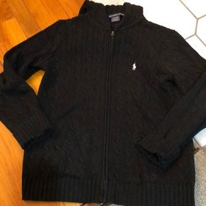 Polo cable zip hooded cardigan